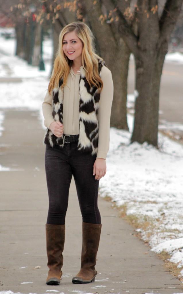 faux fur vest and SOREL boots