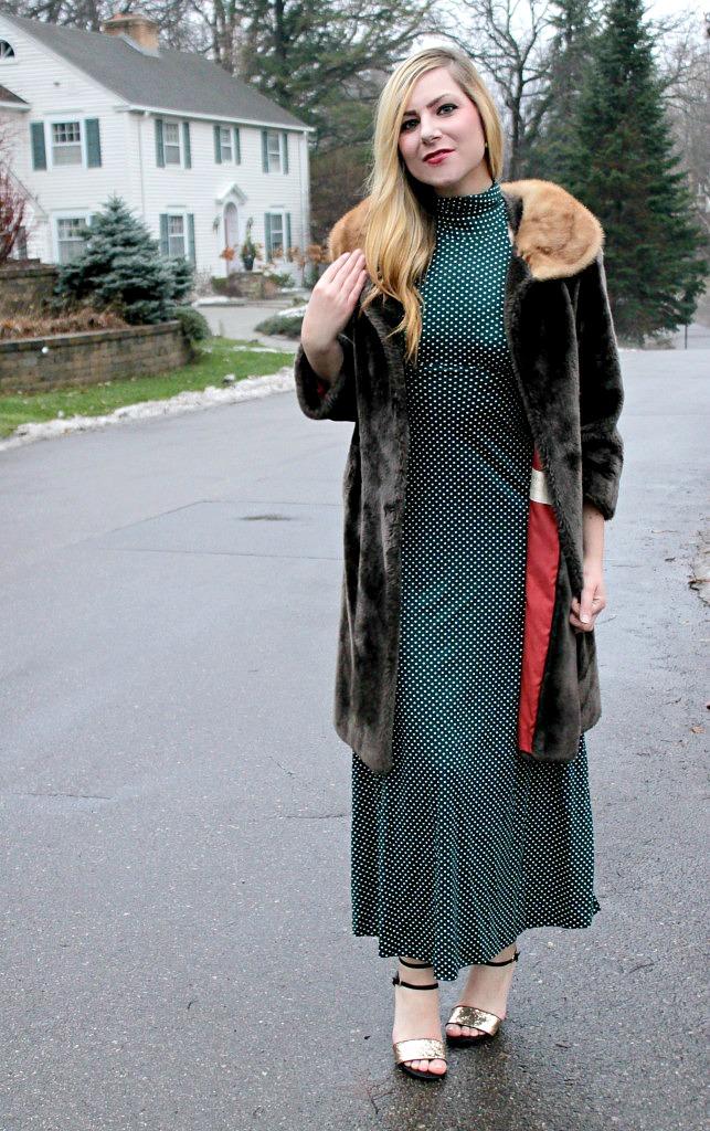 holiday-glam_-vintage-faux-fur-green-polka-dot-dress-glitter-heels-643x1024