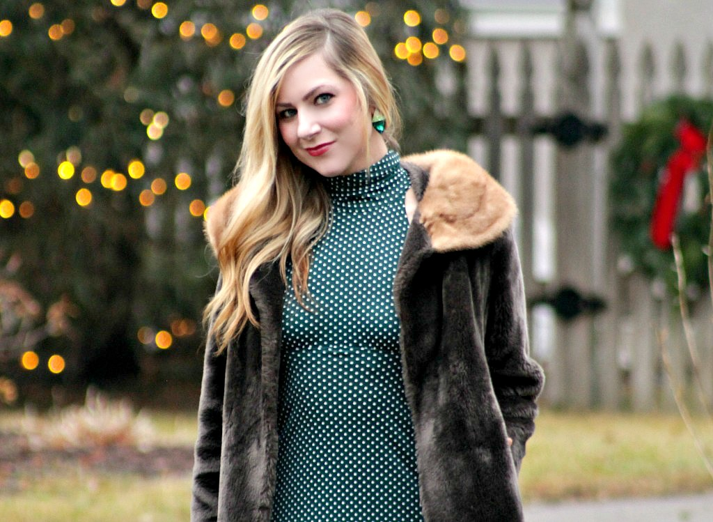 holiday-style-with-faux-fur-and-green-polka-dot-dress-1024x749