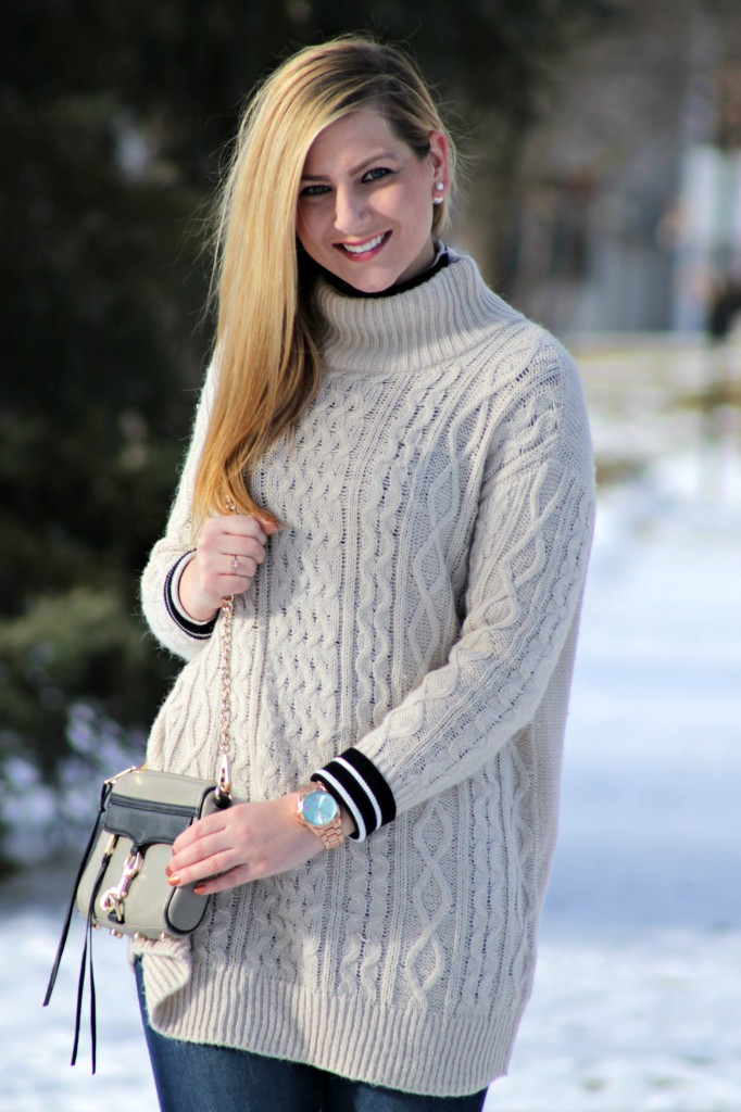 orversized sweater + striped turtleneck + rose gold watch