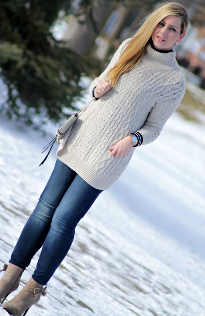 oversized sweater + turtleneck layers