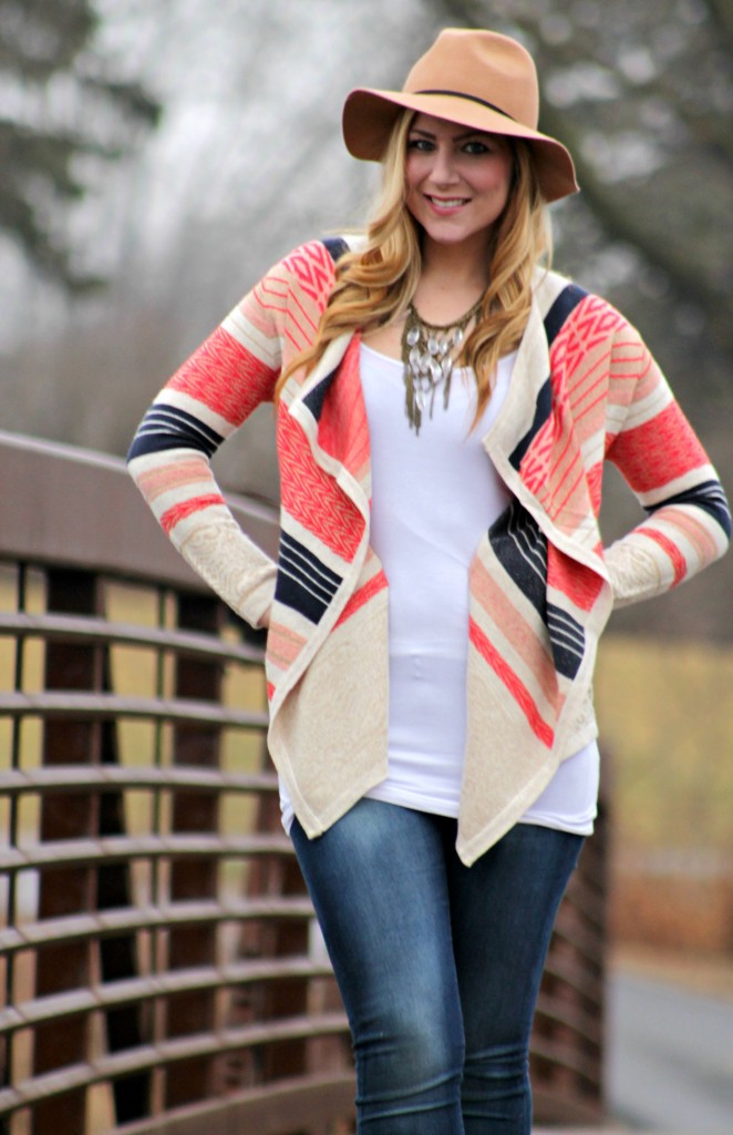 patterened wrap + statement necklace
