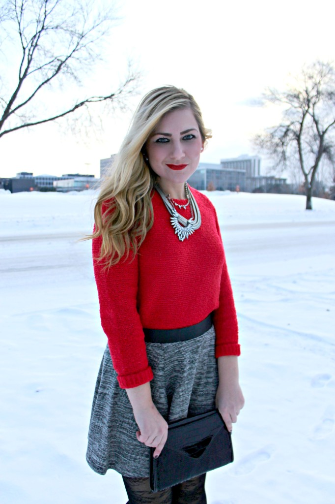 red sweater + necklace + skirt from H&M