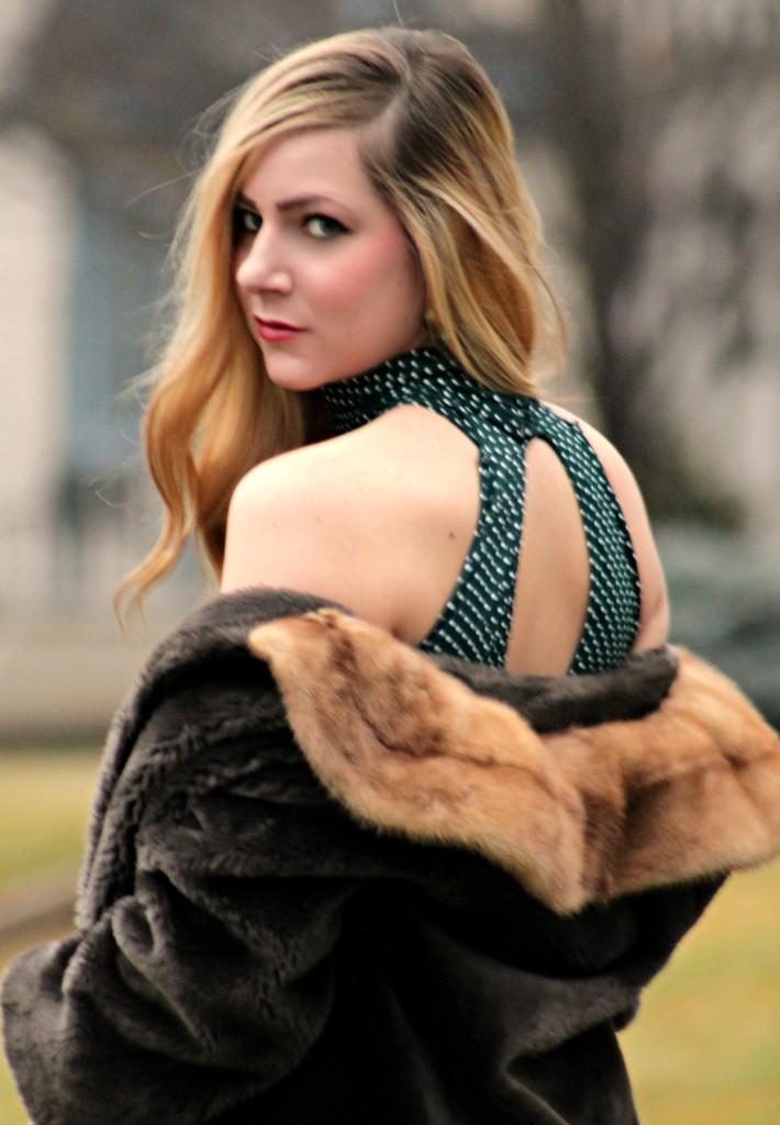 vintage holiday faux fur and polka dot dress