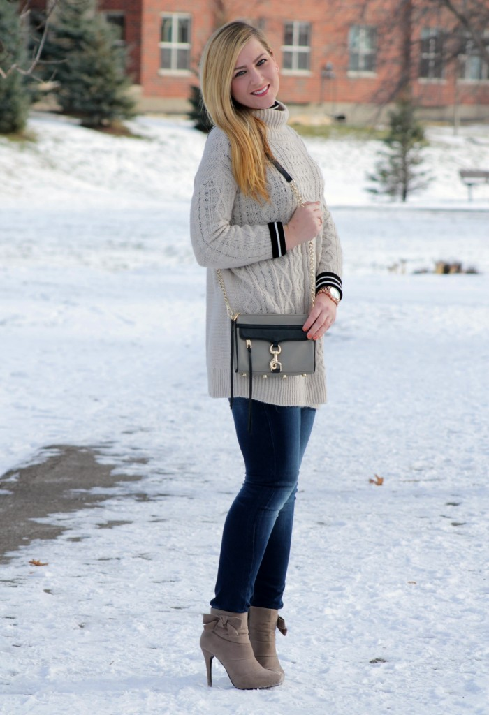 winter style sweater layered over turtleneck + booties