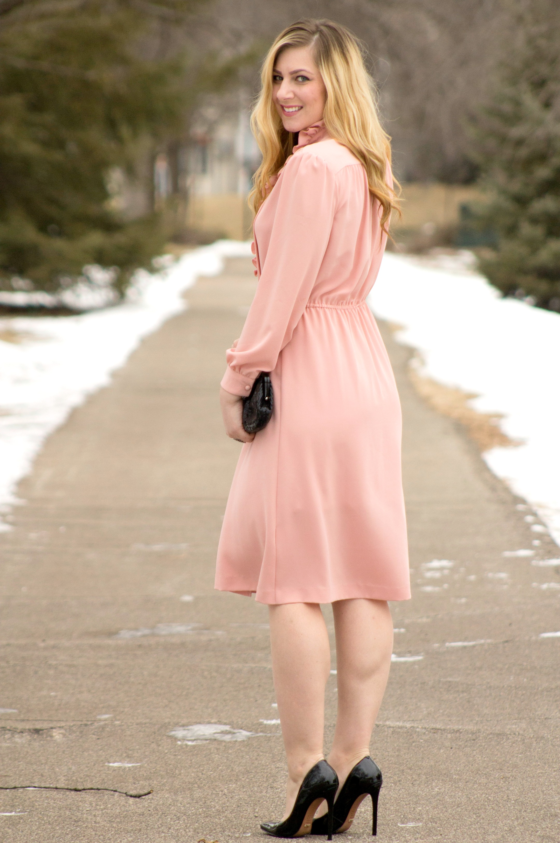Pink Dress And Black Heels - Is Heel