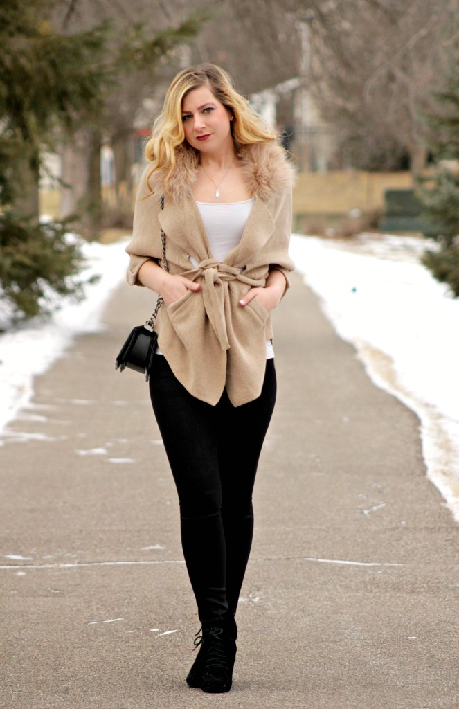 faux fur cardigan and black jeans