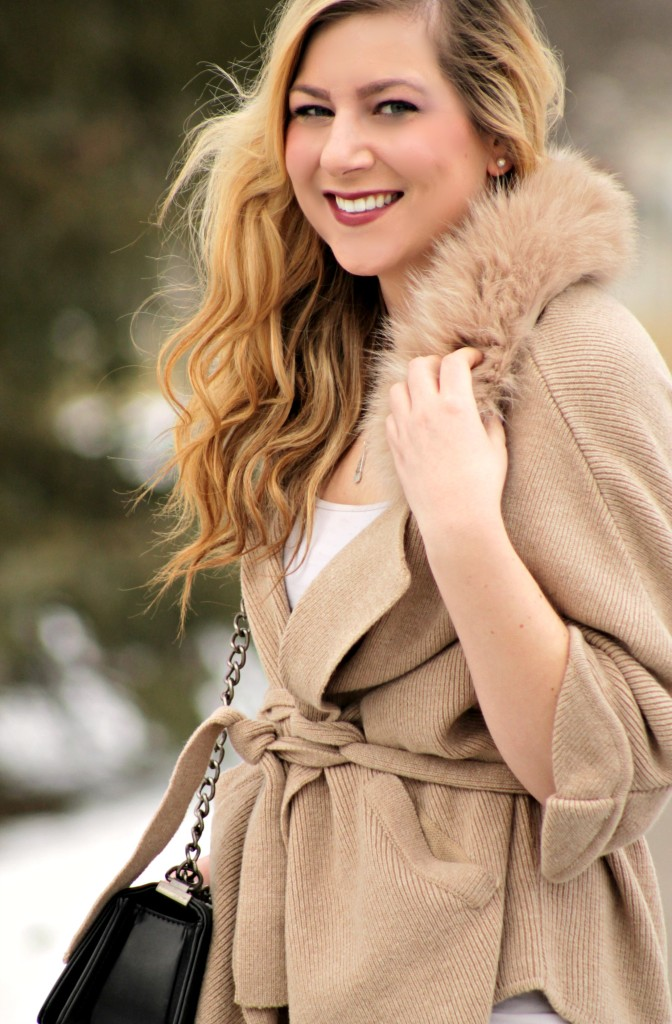 faux fur cardigan collar