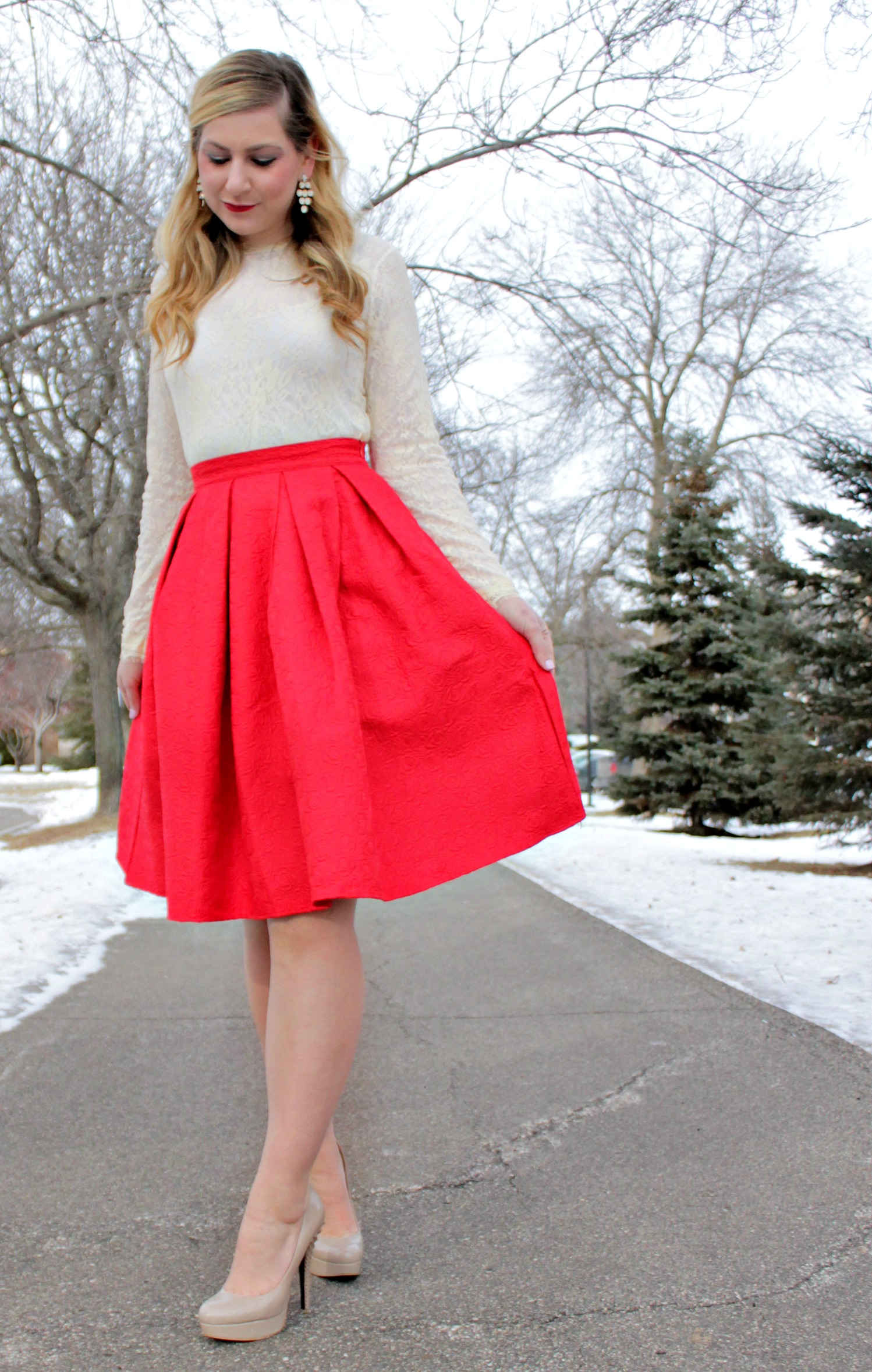 Ivory Lace & Red Pleated Skirt: Valentine's Day Look - Rachel's ...