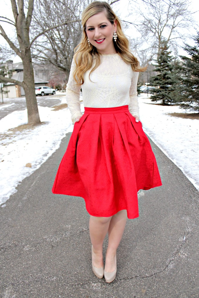 lace top, red skirt