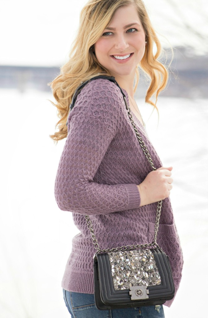 lavender cardigan + embellished bag
