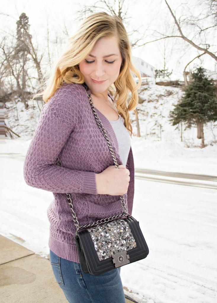lavender cardigan + t-shirt + embellished handbag