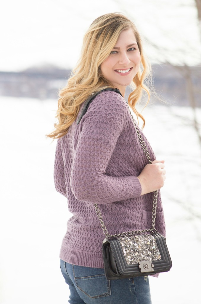 lavender slouchy knit cardigan