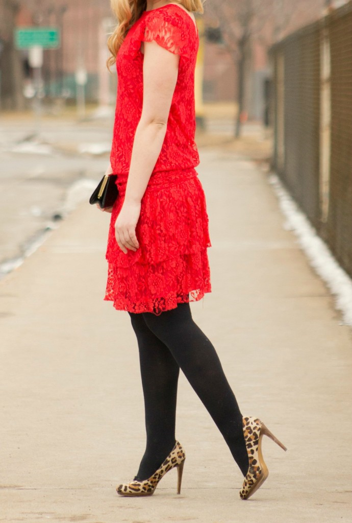 red lace dress and leopard heels