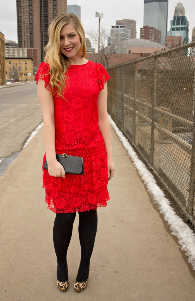red lace dress + leopard heels