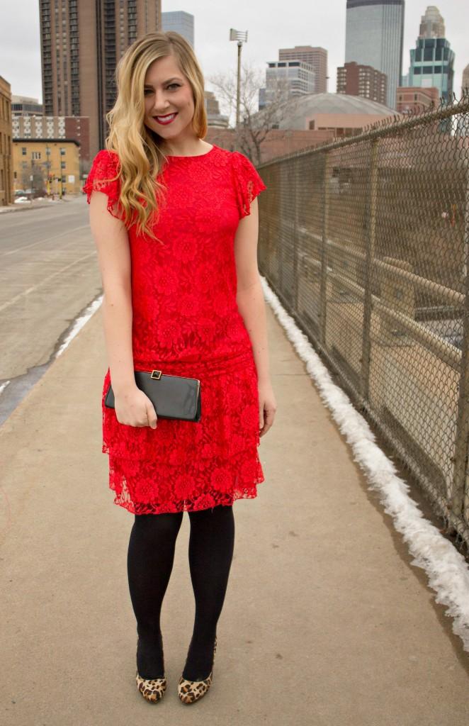 red lace dress + leopard heels