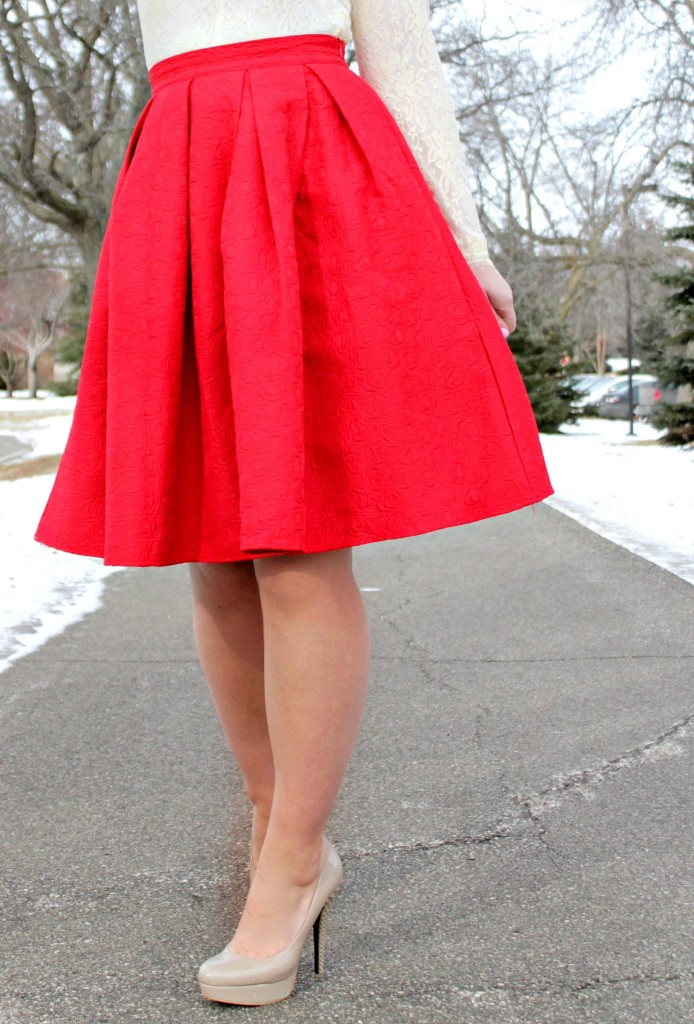 red skirt and nude heels