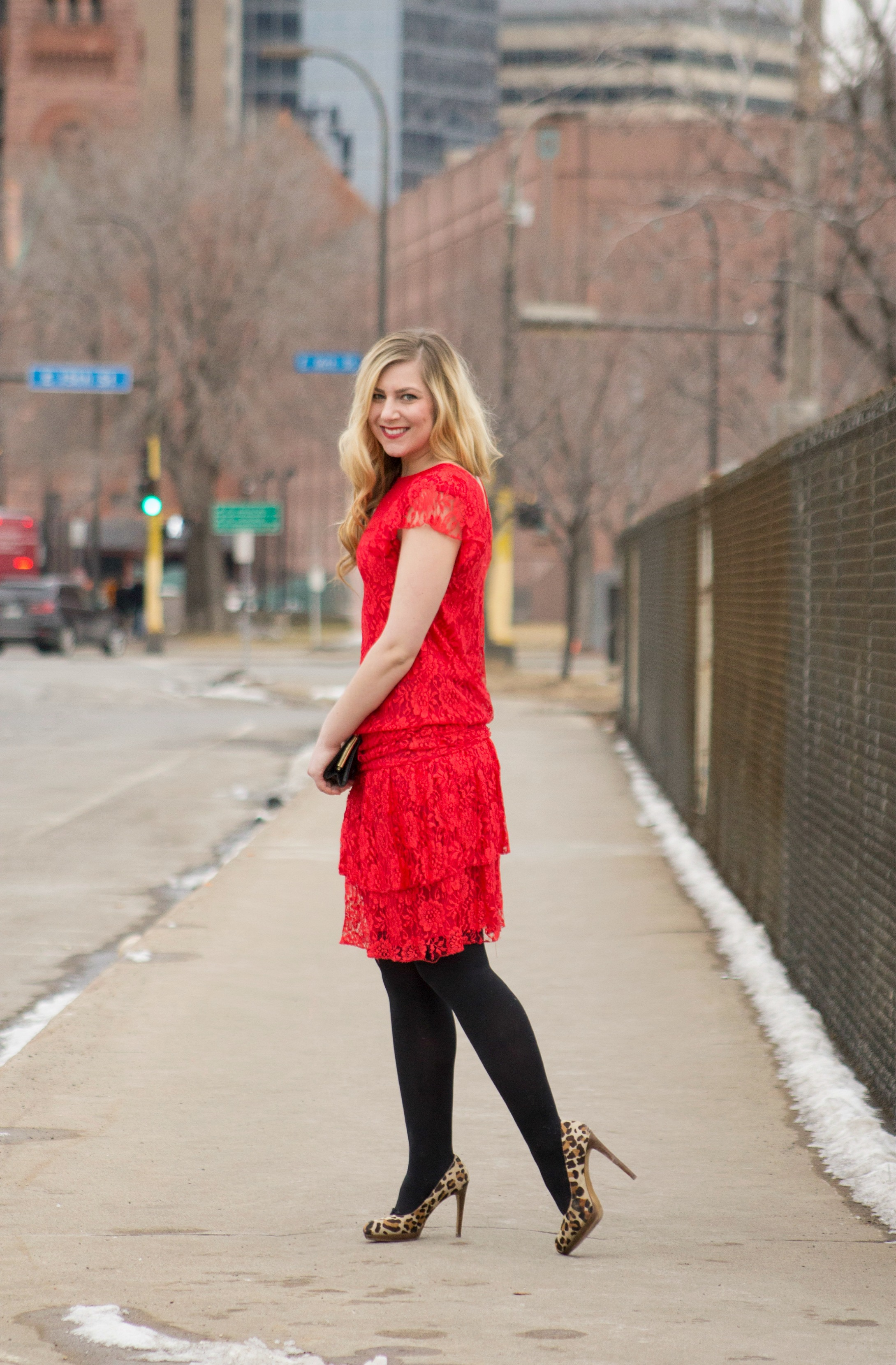 Red Lace Dress With Black Tights