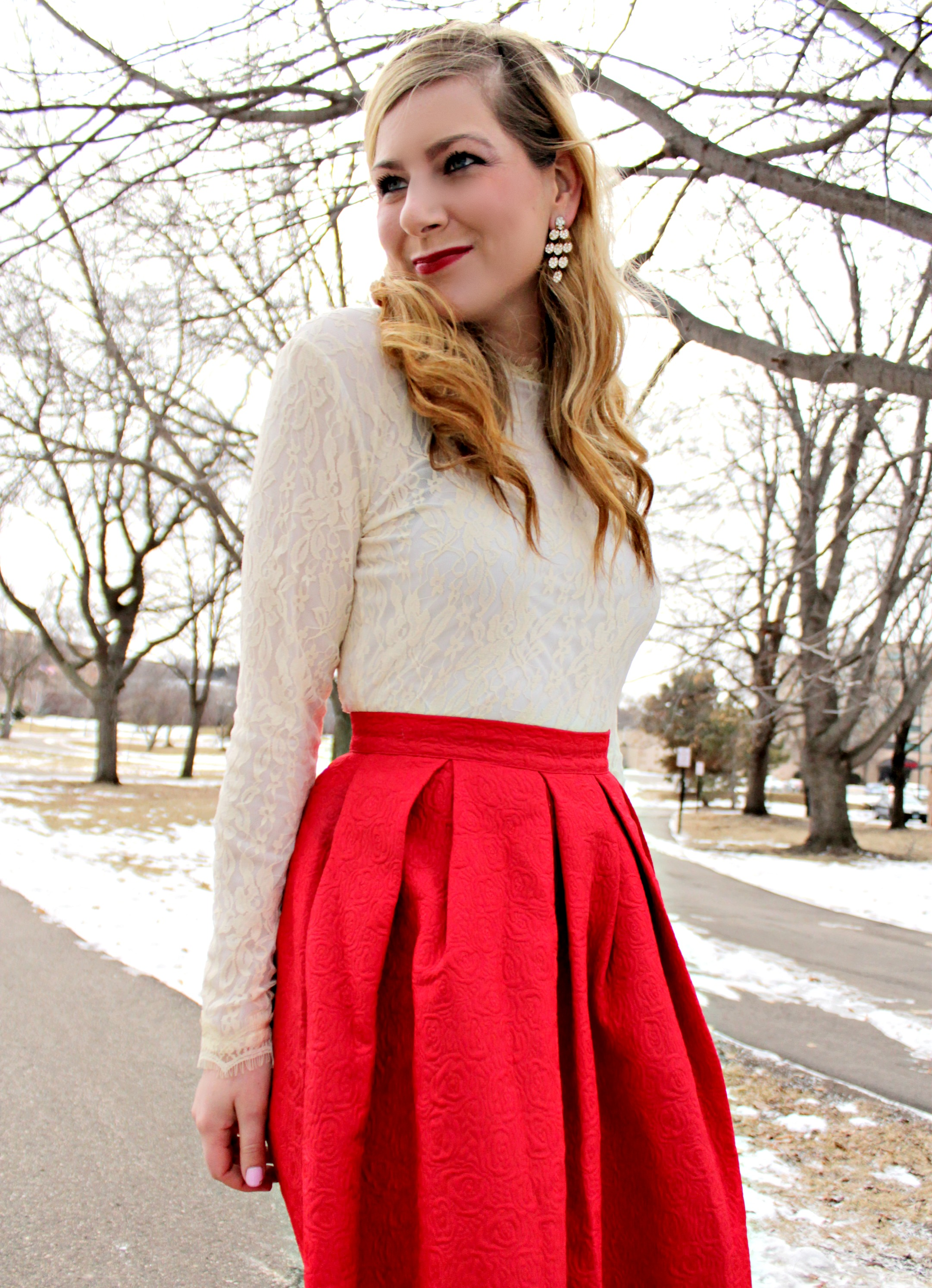 Rachel S Lookbook Ivory Lace Top And Red Skirt