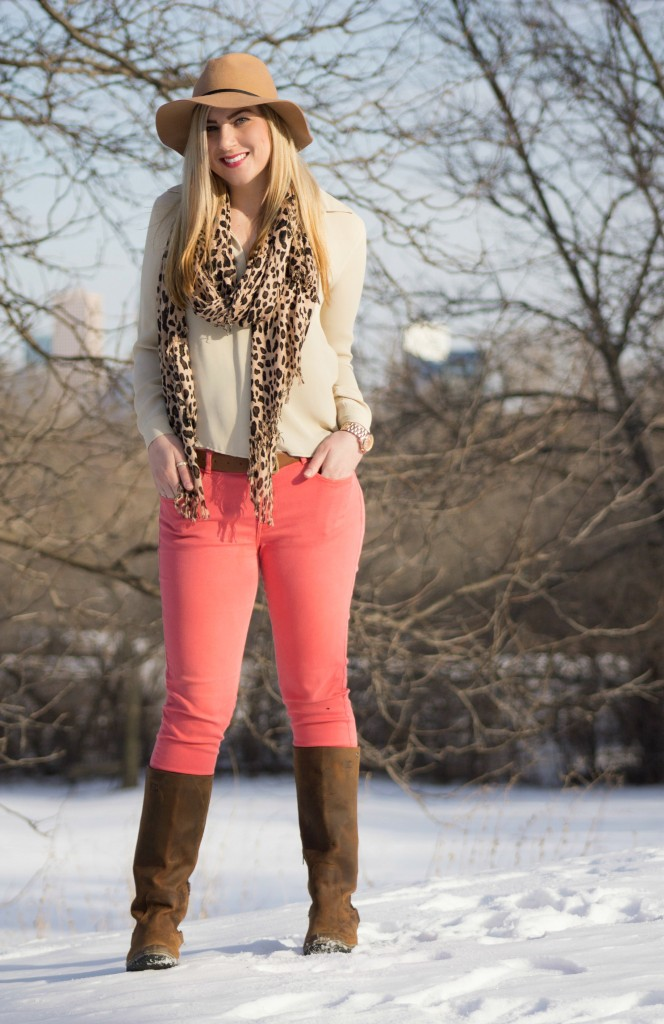 Coral jeans + beige blouse + leopard scarf