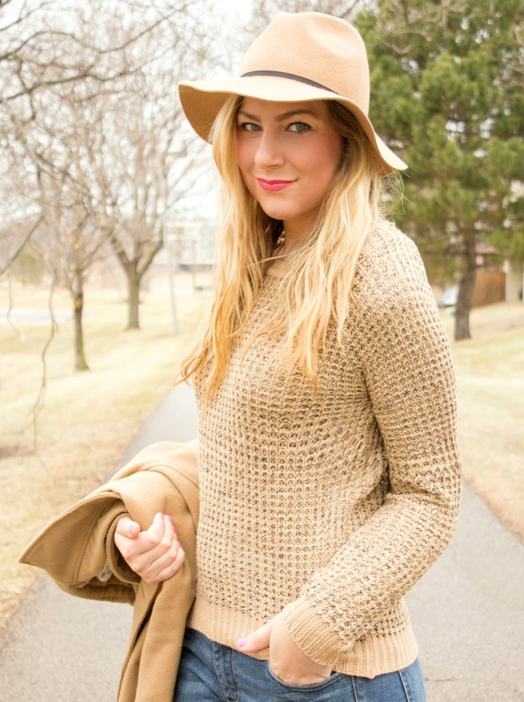 camel sweater and hat
