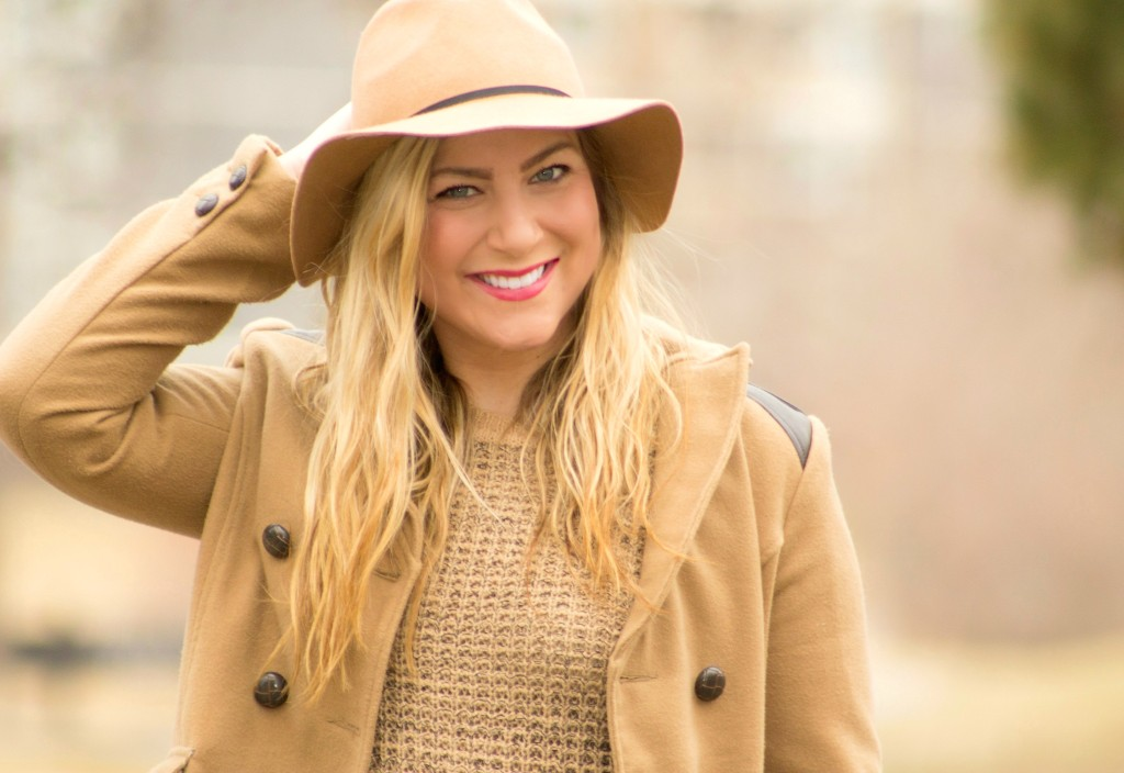 camel sweater + coat + hat