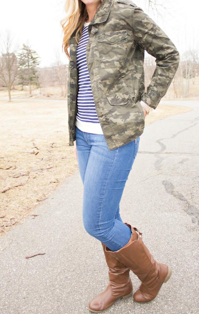 camo jacket + stripes