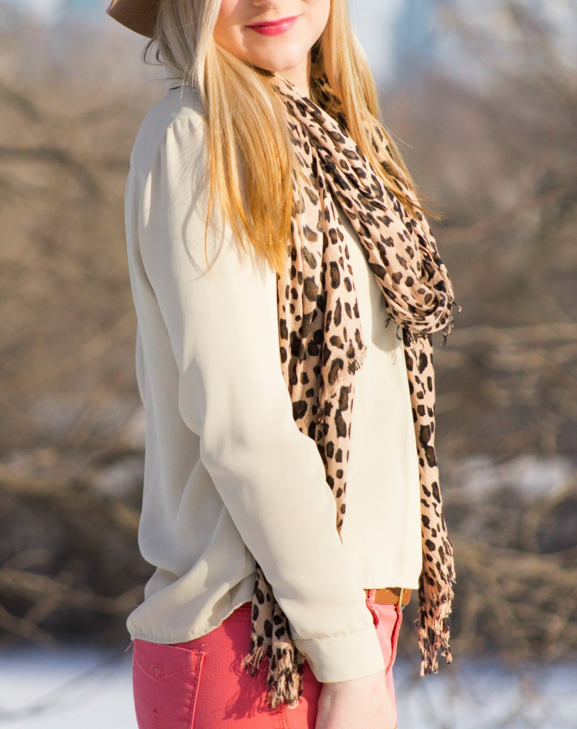 casual style with leopard scarf