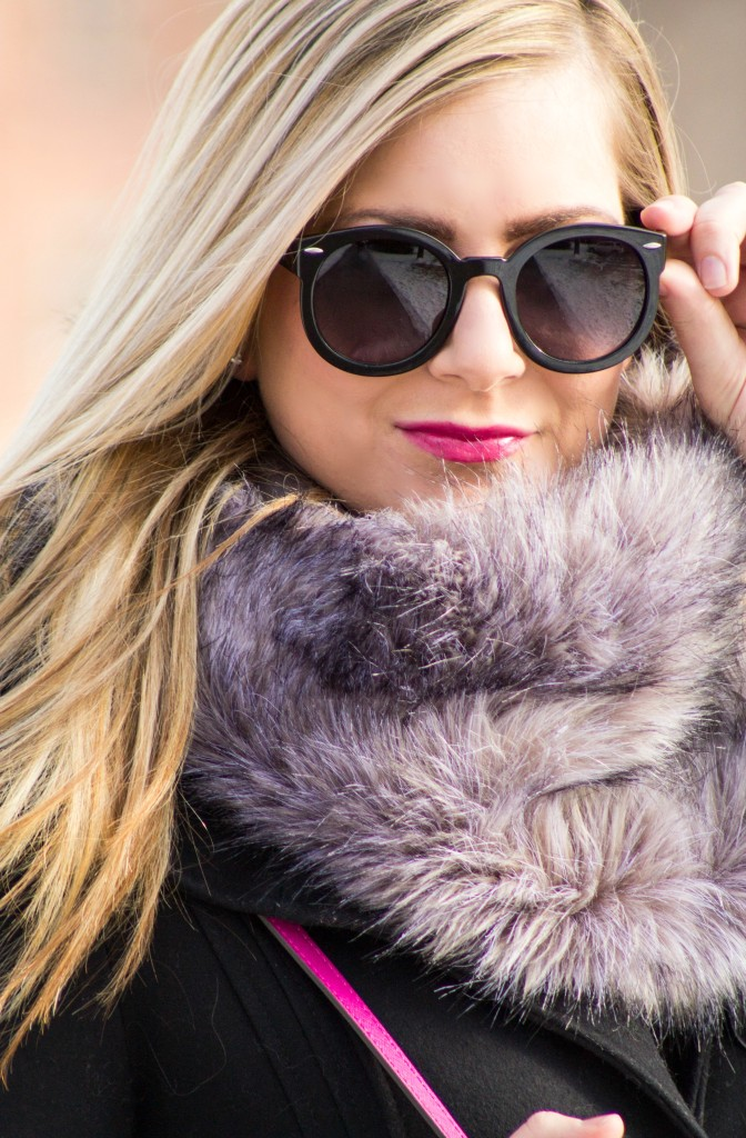 faux fur and pink lipstick