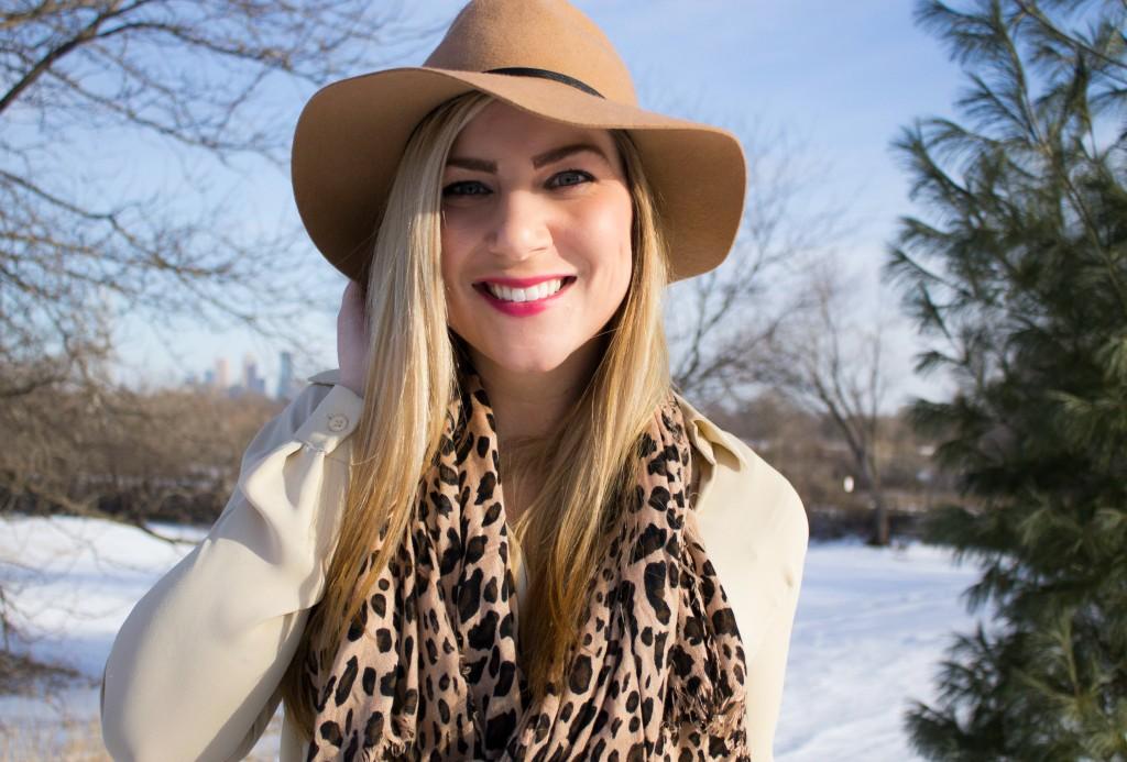 felt fedora + leopard scarf