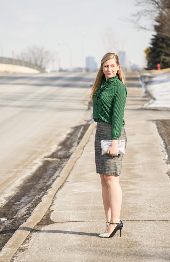 green top, tweed pencil skirt, t-strap heels