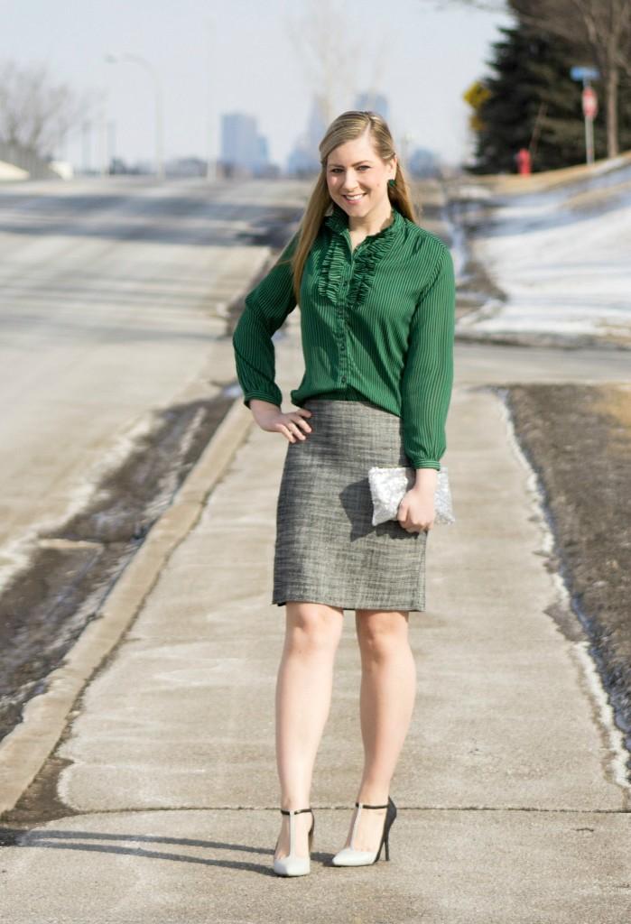 green top, tweed pencil skirt