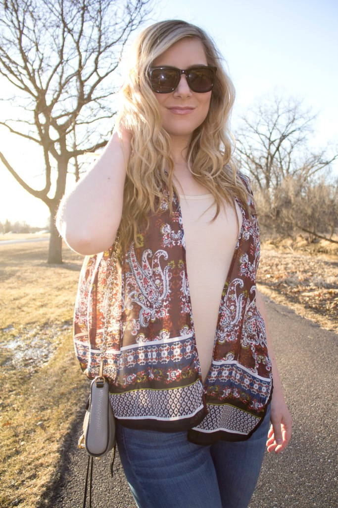 printed light weight cardigan