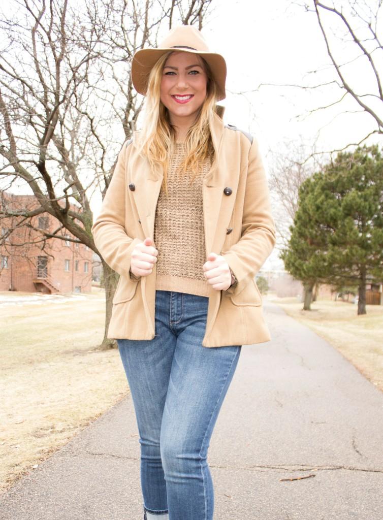 sweater + coat + felt fedora