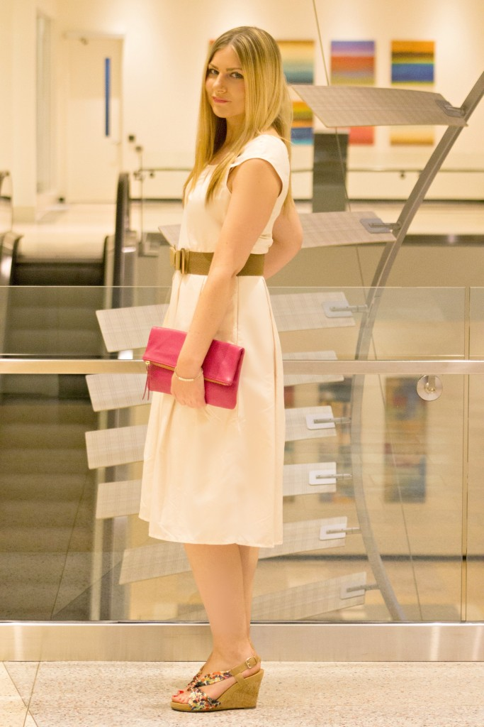 blush dress + hot pink clutch
