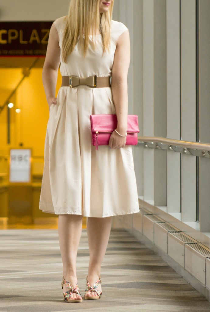 blush dress with bow belt