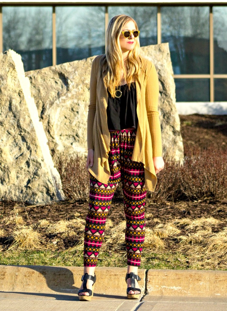 long cardigan, printed pants, wedges and DITTO sunglasses