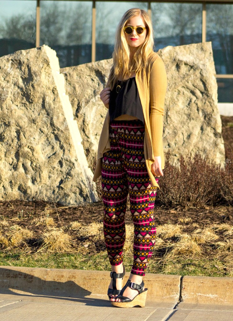 printed pants, long cardigan