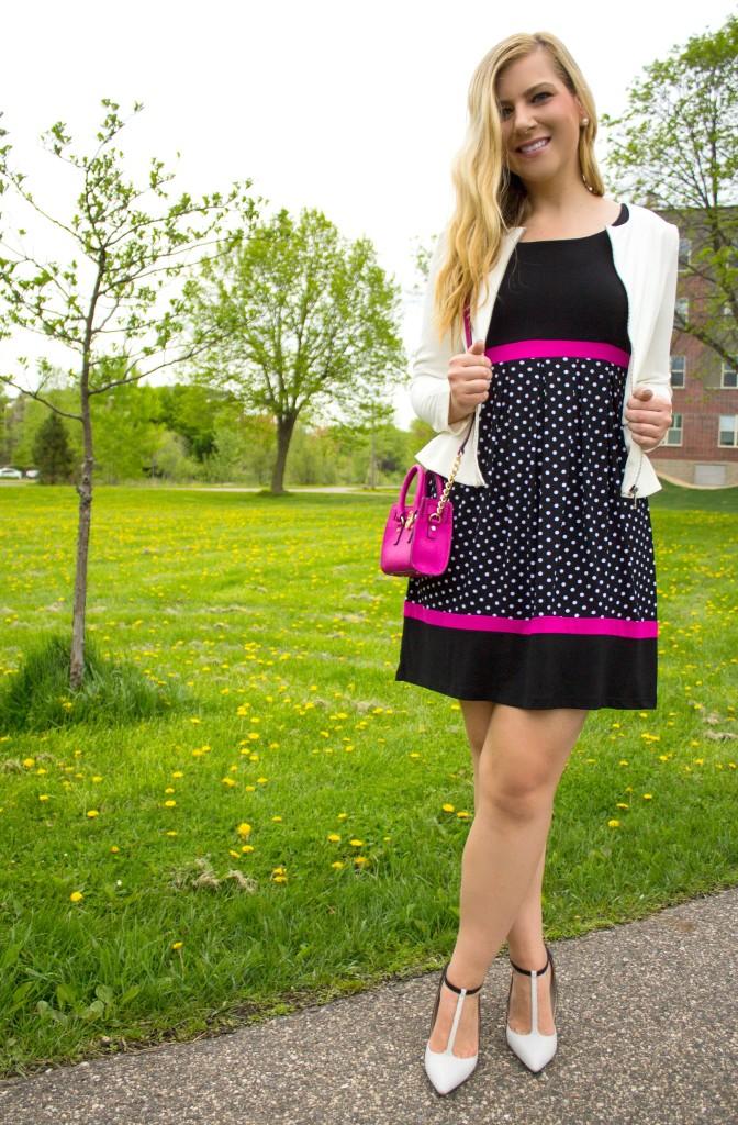 Polka Dot Dress Mini Handbag T-Strap Heels