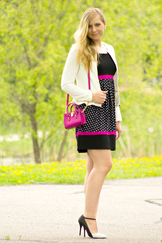 Polka dot and pink dress