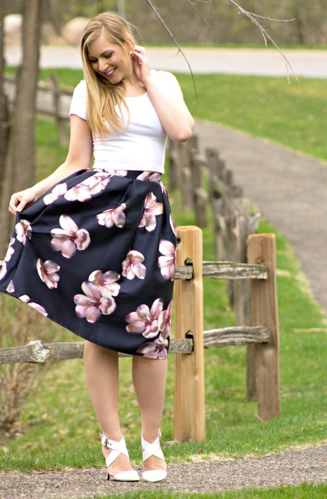 Spring Style - Floral Midi Skirt  Rachel's Lookbook