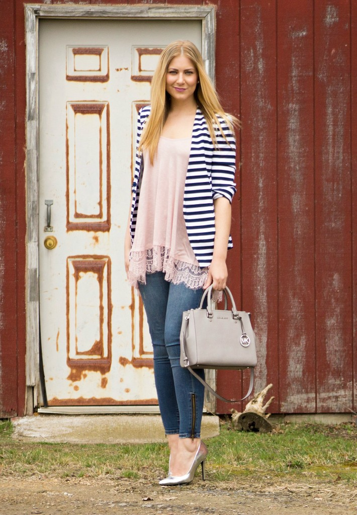 casual outfit - navy striped blazer  Rachel's Lookbook