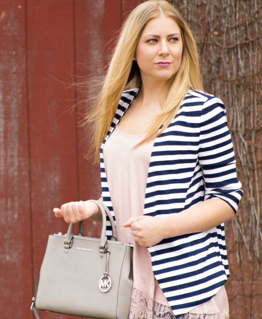 navy striped blazer + blush pink  Rachel's Lookbook