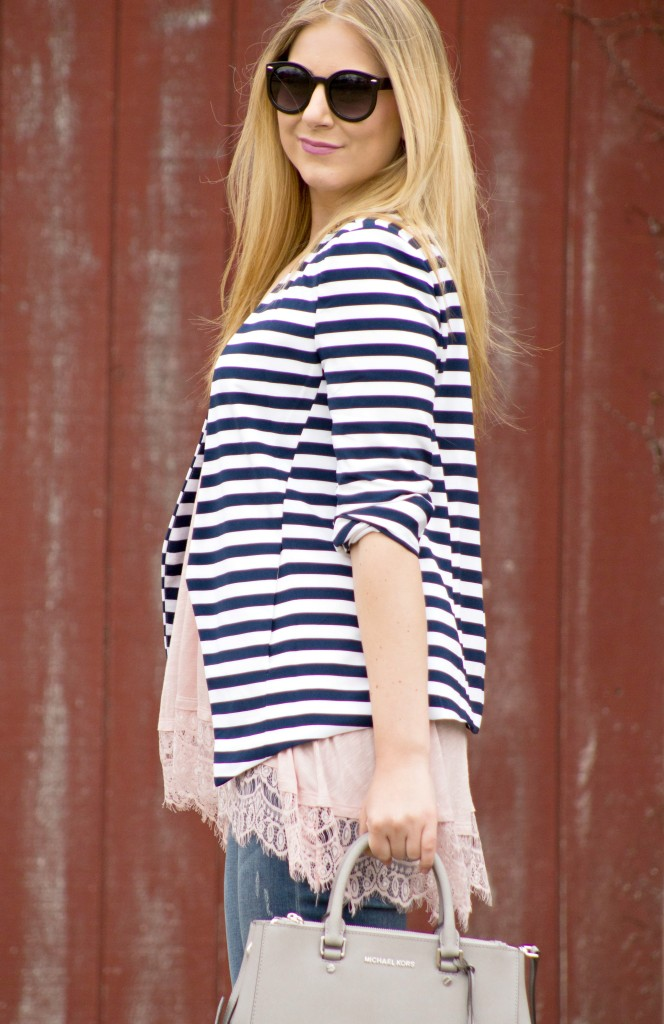 navy striped blazer + blush pink tank top  Rachel's Lookbook
