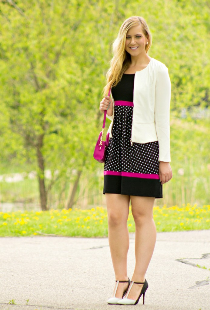 pink, black and polka dot dress with white blazer