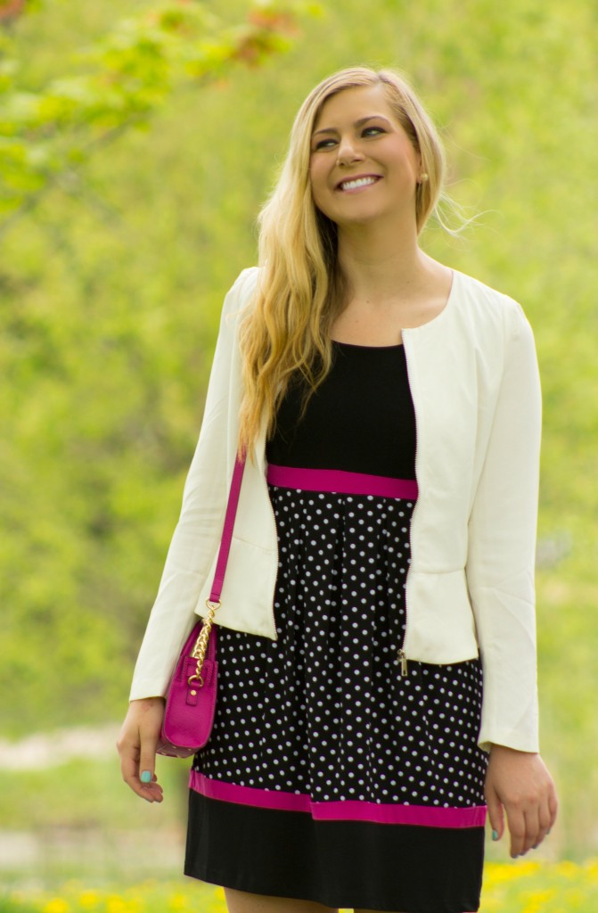 white blazer, pink dress