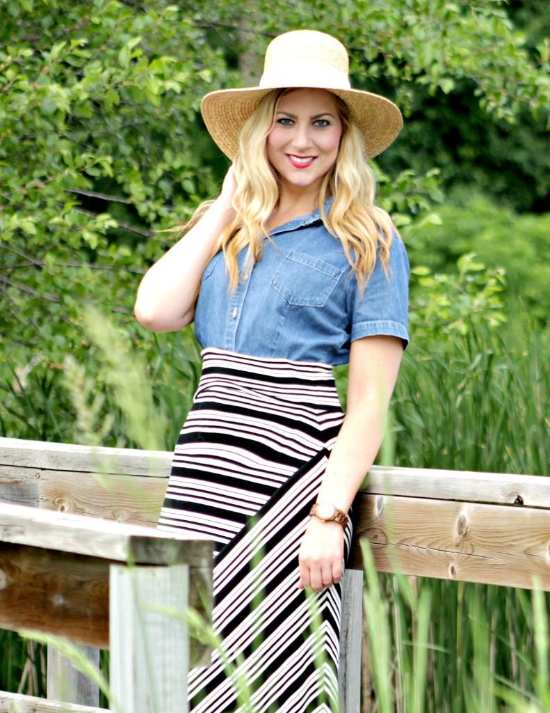 chambray short-sleeve top + maxi striped skirt