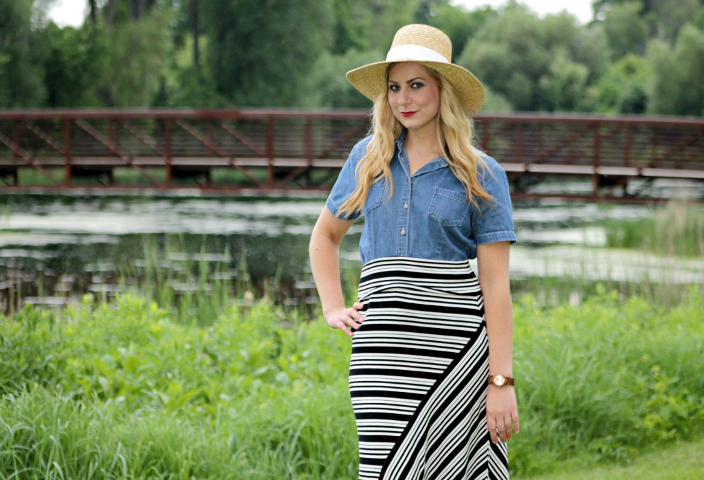 chambray top, striped skirt, wood watch