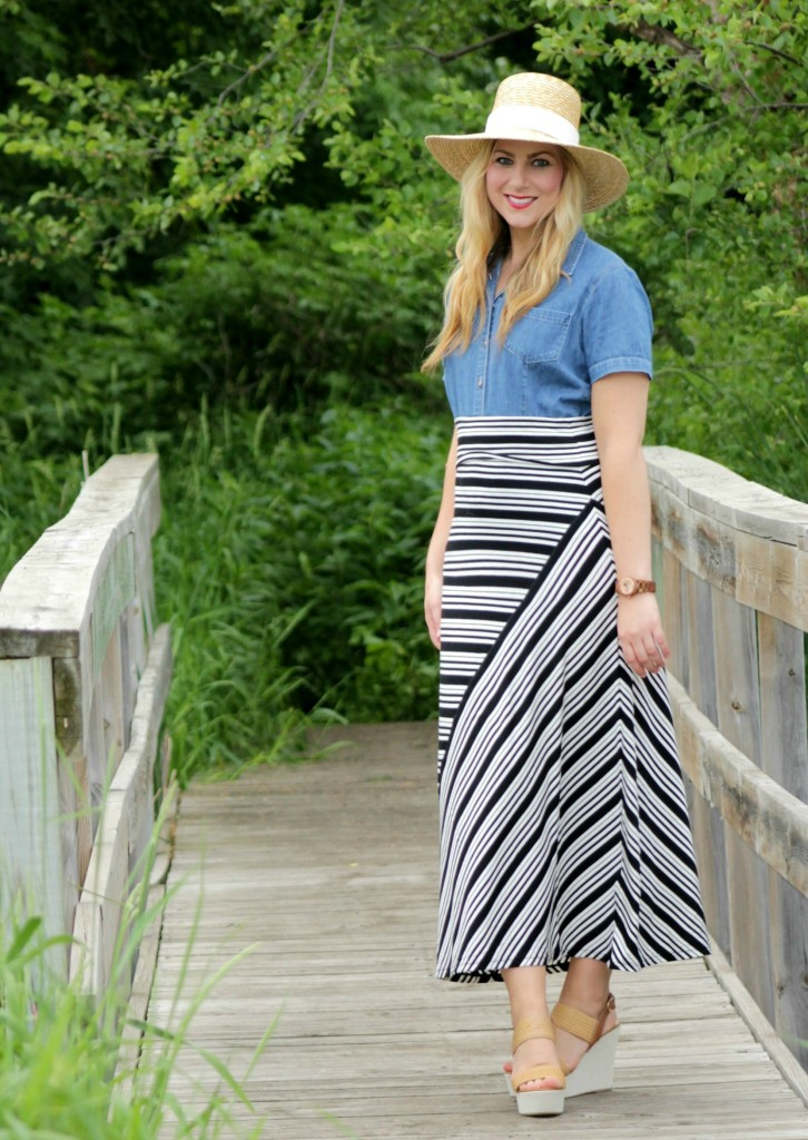chambray top + striped skirt