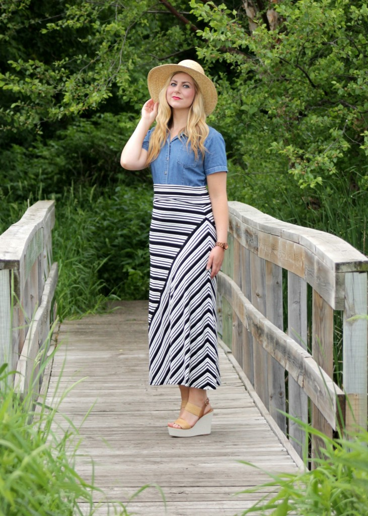 striped skirt, wedges and wood watch